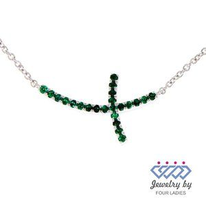 Natural Emerald Curved Style Necklace